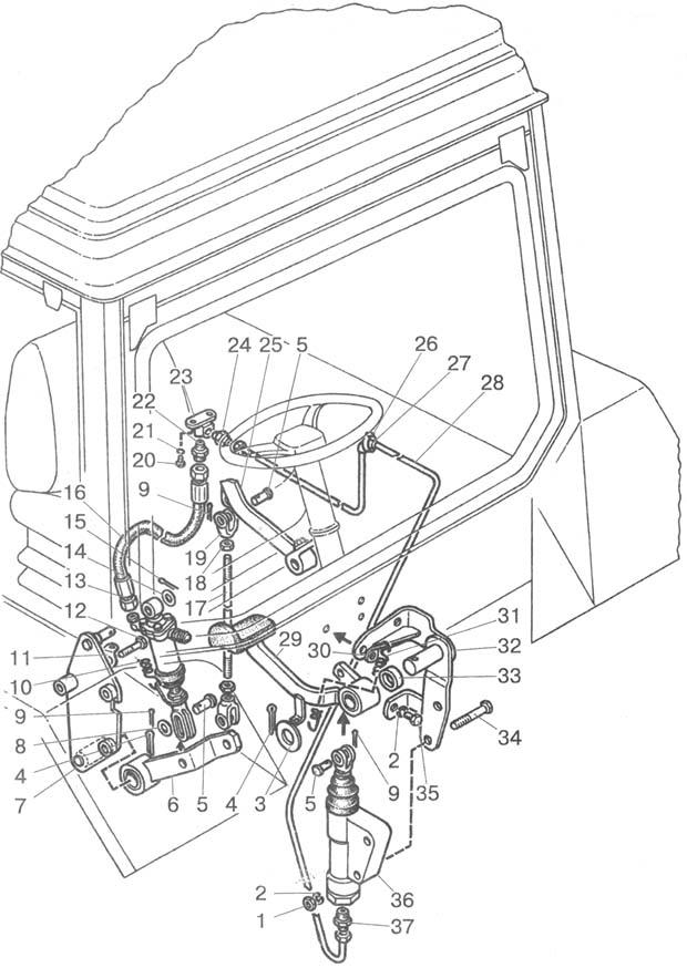 Управление тормозами на реверсе мтз